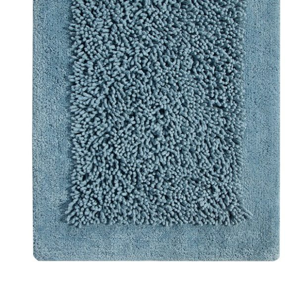 Saffron Fabs Bath Rug, Cotton and Chenille, 34x21 In, Anti-Skid, Blue, Long Noodle Loops