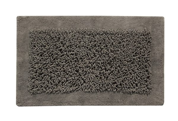 Saffron Fabs Bath Rug, Cotton and Chenille, 36x24 In, Anti-Skid, Gray, Long Noodle Loops