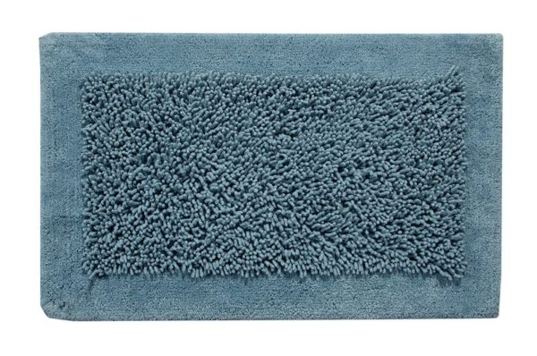 Saffron Fabs Bath Rug, Cotton and Chenille, 36x24 In, Anti-Skid, Blue, Long Noodle Loops