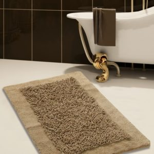 Saffron Fabs Bath Rug, Cotton and Chenille, 36x24 In, Anti-Skid, Beige, Long Noodle Loops