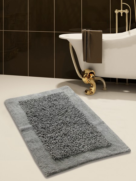 Saffron Fabs Bath Rug, Cotton and Chenille, 50x30 In, Anti-Skid, Gray, Long Noodle Loops