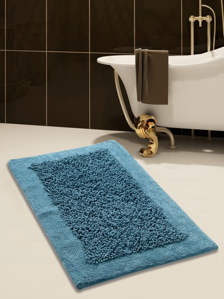 Saffron Fabs Bath Rug, Cotton and Chenille, 50x30 In, Anti-Skid, Blue, Long Noodle Loops