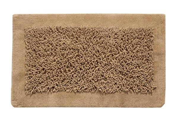Saffron Fabs Bath Rug, Cotton and Chenille, 50x30 In, Anti-Skid, Beige, Long Noodle Loops