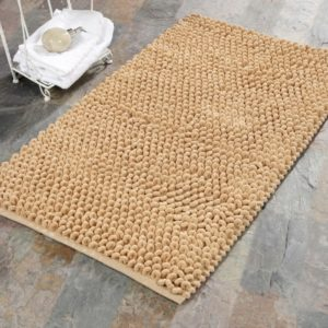Saffron Fabs Bath Rug Cotton and Microfiber, 34x21 In, Round Loop Bubbles, Anti-Skid, Beige