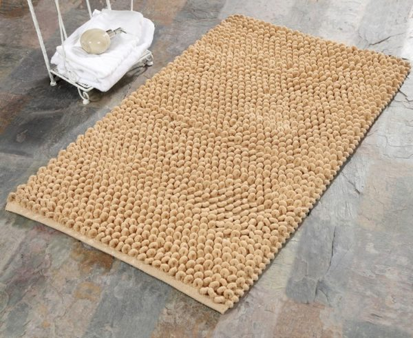 Saffron Fabs Bath Rug Cotton and Microfiber, 34x21 In, Round Loop Bubbles, Anti-Skid, Beige