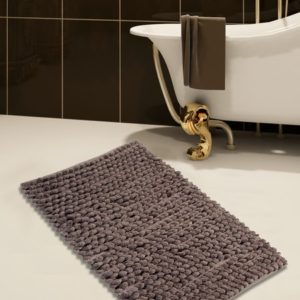 Saffron Fabs Bath Rug Cotton and Microfiber, 36x24 In, Round Loop Bubbles, Anti-Skid, Gray