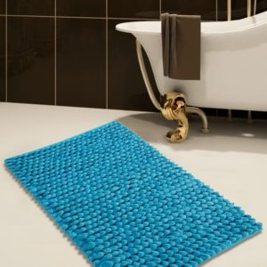Saffron Fabs Bath Rug Cotton and Microfiber, 36x24 In, Round Loop Bubbles, Anti-Skid, Blue