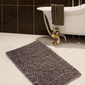 Saffron Fabs Bath Rug Cotton and Microfiber, 50x30 In, Round Loop Bubbles, Anti-Skid, White