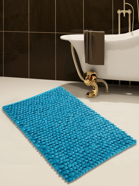 Saffron Fabs Bath Rug Cotton and Microfiber, 50x30 In, Round Loop Bubbles, Anti-Skid, Blue