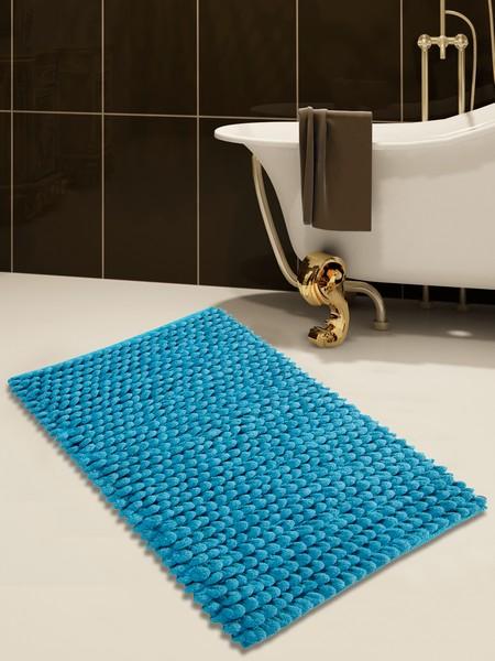Saffron Fabs Bath Rug Cotton and Microfiber, 50x30 In, Round Loop Bubbles, Anti-Skid, Blue