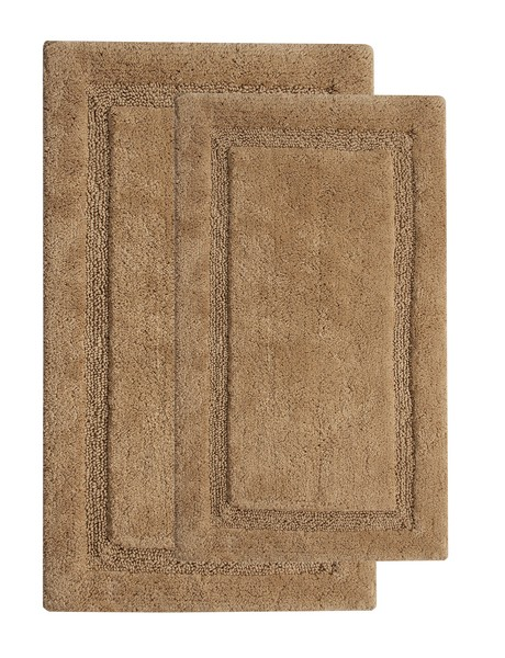 Saffron Fabs 2 Pc. Bath Rug Set, Cotton, 34x21 and 36x24, Anti-Skid, Beige, Regency