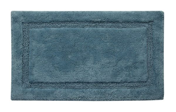 Saffron Fabs 2 Pc. Bath Rug Set, Cotton, 34x21 and 36x24, Anti-Skid Arctic Blue, Regency