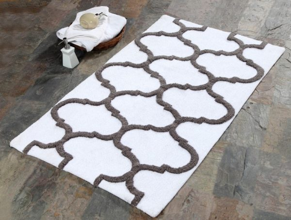 Saffron Fabs 2 Pc Bath Rug Set, Cotton, 34x21 and 36x24, Anti-Skid, White/Gray, Geometric