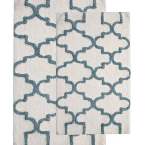 Saffron Fabs 2 Pc Bath Rug Set, Cotton, 34x21 and 36x24, Anti-Skid, White/Arctic Blue
