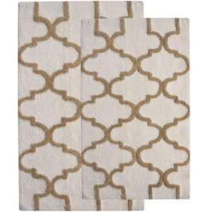 Saffron Fabs 2 Pc Bath Rug Set, Cotton, 34x21 and 36x24, Anti-Skid, White/Beige, Geometric