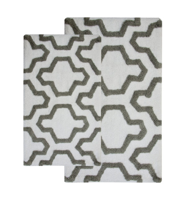 Saffron Fabs 2 Pc Bath Rug Set, Cotton, 34x21 and 36x24, Anti-Skid, White/Gray, Quatrefoil