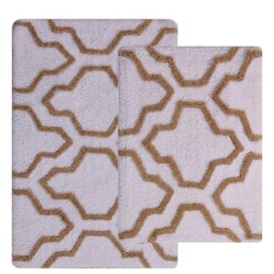 Saffron Fabs 2 Pc Bath Rug Set, Cotton, 34x21 and 36x24, Anti-Skid, White/Beige, Quatrefoil