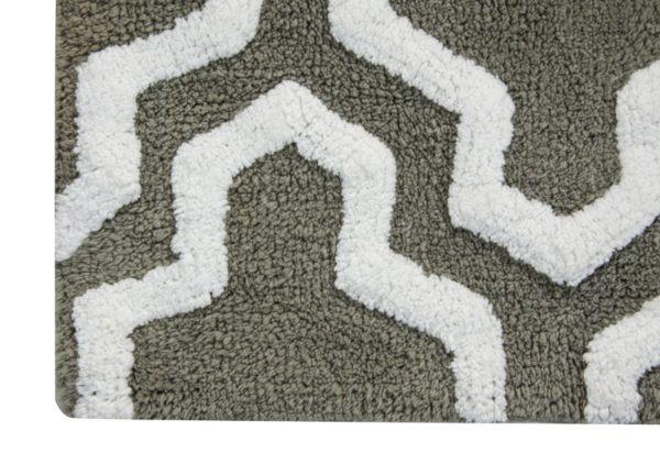 Saffron Fabs 2 Pc Bath Rug Set, Cotton, 34x21 and 36x24, Anti-Skid, Gray/White, Quatrefoil
