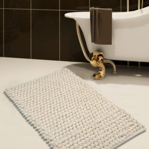 Saffron Fabs 2 Pc. Bath Rug Set, Microfiber, 34x21 and 36x24, Bubbles, Anti-Skid, Ivory