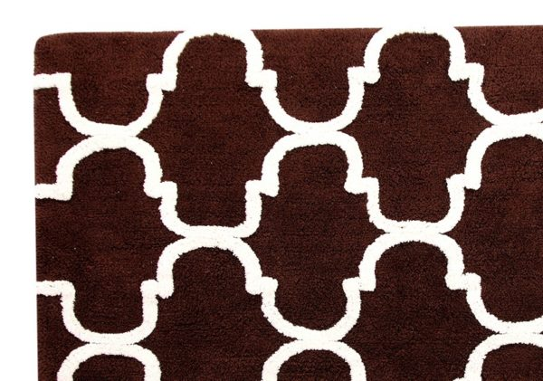 Saffron Fabs Bath Rug Cotton, 50x30 In, Anti-Skid, Chocolate/Ivory, Geometric, Washable,