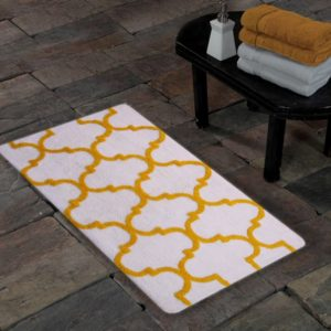 Saffron Fabs Bath Rug Cotton, 50x30 In, Anti-Skid, White/Yellow, Geometric Pattern, Washable