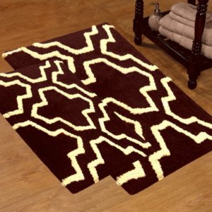 Saffron Fabs 2 Pc Bath Rug Set, Cotton, 24x17 and 34x21, Anti-Skid, Chocolate/Ivory