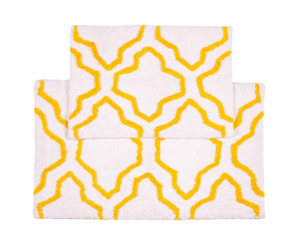 Saffron Fabs 2 Pc Bath Rug Set, Cotton, 24x17 and 34x21, Anti-Skid, White/Yellow, Quatrefoil