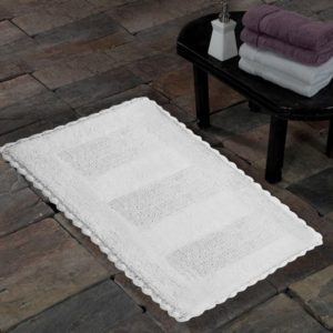 Saffron Fabs Cotton Bath Rug, 50x30 Inch, Reversible, Crochet Lace Border, White, Washable
