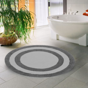 Saffron Fabs Bath Rug Cotton 36 Inch Round, Reversible, Gray/White, Machine Washable