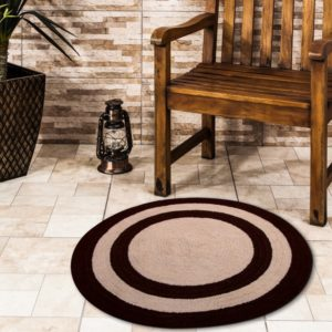 Saffron Fabs Bath Rug Cotton 36 Inch Round, Reversible, Chocolate/Ivory, Machine Washable