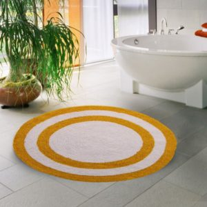 Saffron Fabs Bath Rug Cotton 36 Inch Round, Reversible, Yellow/White, Machine Washable