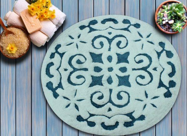 Saffron Fabs Bath Rug Cotton, 36 Inch Round, Damask, Anti-Skid, Blue/White, 200 GSF, Washable
