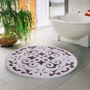 Saffron Fabs Bath Rug Cotton, 36 Inch Round, Damask, Anti-Skid, Gray/White, 200 GSF, Washable