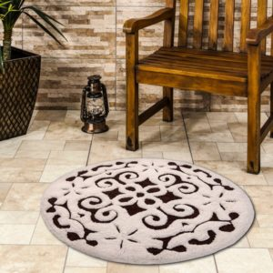 Saffron Fabs Bath Rug Cotton, 36 Inch Round, Damask, Anti-Skid, Chocolate/Ivory, Washable