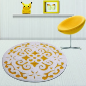 Saffron Fabs Bath Rug Cotton, 36 Inch Round, Damask, Anti-Skid, Yellow/White, Washable