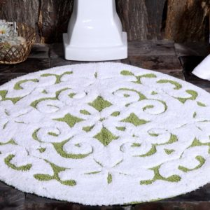 Saffron Fabs Bath Rug Cotton, 36 Inch Round, Damask, Anti-Skid, Sage Green/White, Washable