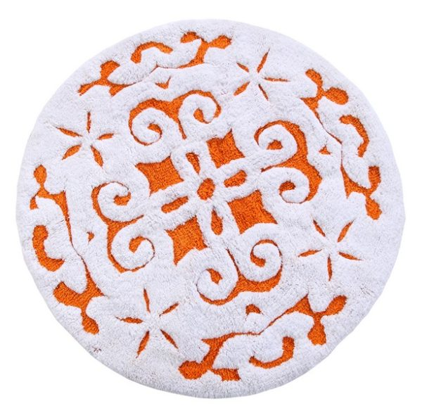 Saffron Fabs Bath Rug Cotton, 36 Inch Round, Damask, Anti-Skid, Orange/White, Washable