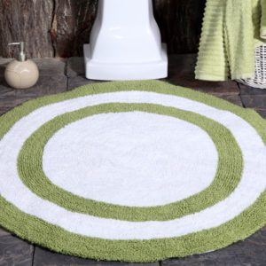 Saffron Fabs Bath Rug Cotton 36 Inch Round, Reversible, Sage Green/White, Machine Washable