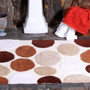 Saffron Fabs Bath Rug Cotton, 50x30 In, Anti-Skid, Brorwn Pebble Stone Pattern, Washable