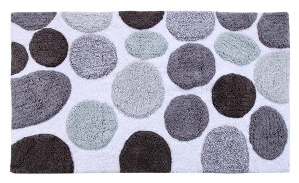 Saffron Fabs Bath Rug Cotton, 50x30 In, Anti-Skid, Gray Pebble Stone Pattern, Washable