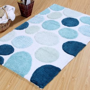 Saffron Fabs Bath Rug Cotton, 50x30 In, Anti-Skid, Blue Pebble Stone Pattern, Washable
