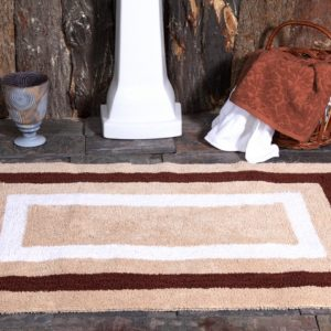 Saffron Fabs Bath Rug Cotton, 50x30 Inch, Reversible, Brown, Race Track Pattern, Washable