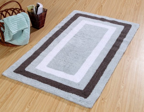 Saffron Fabs Bath Rug Cotton, 50x30 Inch, Reversible, Gray, Race Track Pattern, Washable