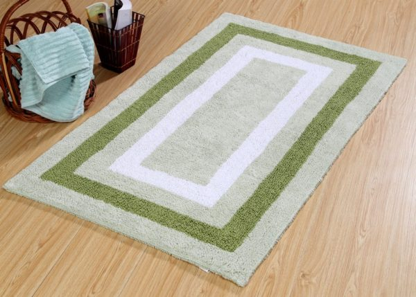 Saffron Fabs Bath Rug Cotton, 50x30 Inch, Reversible, Green, Race Track Pattern, Washable