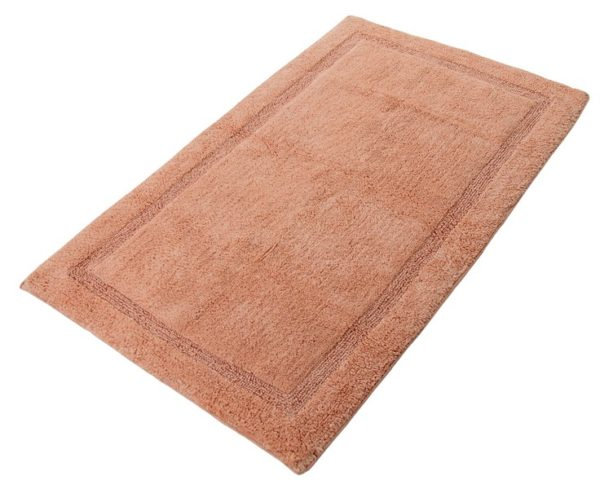 Saffron Fabs Bath Rug Cotton, 50x30 In, Anti-Skid, Coral, Textured Border, Washable, Regency