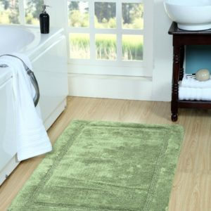 Saffron Fabs Bath Rug Cotton, 50x30 In, Anti-Skid, Sage Green, Washable, Regency