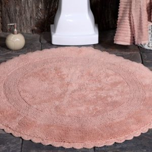Saffron Fabs Bath Rug Cotton 36 Inch Round, Reversible, Coral, Crochet Lace Border, Washable