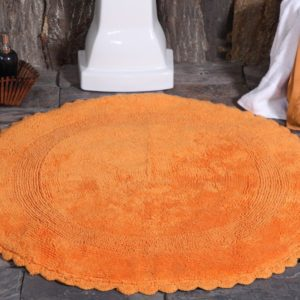Saffron Fabs Bath Rug Cotton 36 Inch Round, Reversible, Orange, Crochet Lace Border, Washable