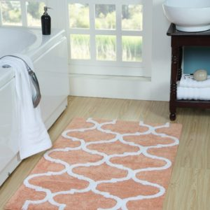 Saffron Fabs Bath Rug Cotton, 50x30 In, Anti-Skid, Coral/White, Geometric Pattern, Washable