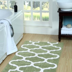 Saffron Fabs Bath Rug Cotton, 50x30 In, Anti-Skid, Sage Green/White, Geometric, Washable